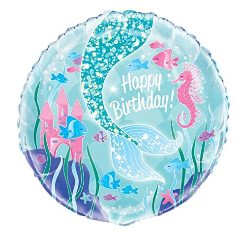 Unique Party- Mermaid Balloon Globo Foil de Cumpleaños Fiesta Sirena, Multicolor, 45 cm (58337)