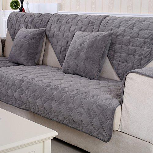 Dw&hx morbidissimo peluche copertura divano trapuntato fodera per divano copridivano copertine componibile multi-size antiscivolo antimacchia colore puro sofa protettore mobili coperture per salotto -grigio 110x240cm(43x94inch)