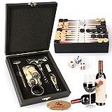 Juego de accesorios para vino Yobansa, en caja de madera, juego de sacacorchos, abrebotellas de cerveza y de tapones Black Chess Box