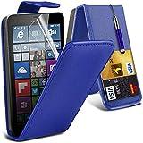 ONX3® (blau) Microsoft Lumia 640 XL Hülle Abdeckung Cover Case schutzhülle Tasche Custom Made Fall nach Maß PU Leder Schlag mit Kredit / Bankkarte Slot Kasten Haut Abdeckung mit LCD Display Schutzfolie, Poliertuch und Mini versenkbaren Stylus Pen