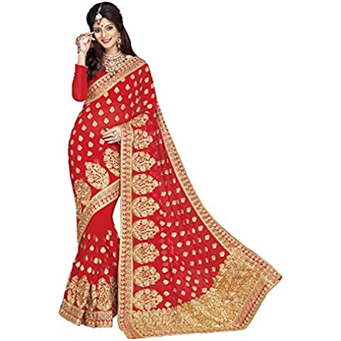 Da Facioun color rojo indio Saree Sari con bordado de Amazing Pallu