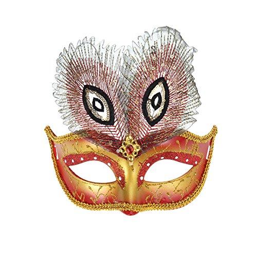 ske Glitzer Venezianische Feder Halbmaske für Karneval Maskenball Halloween Cosplay Party (rot) (Rote Halbmaske Mit Federn)
