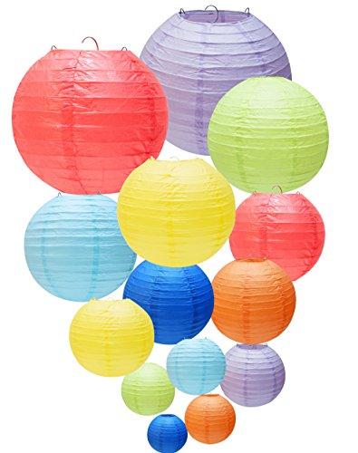 YOKARTA 14x Farolillos de Papel Decorativos redondos de colores | Para Decoración de Bodas, Cumpleaños, Baby Showers, Fiestas de Jardín, Terrazas, Bebe | Lamparas Lampions de papel