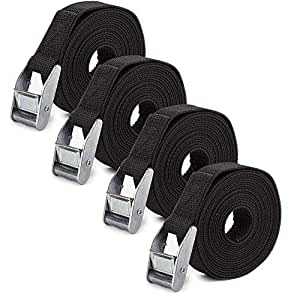 4, Black 12 Ft x 1 Inch Tie Down Straps Luggage Strap Up to 600lbs URBEST Lashing Straps Ratchet-Tie-Downs