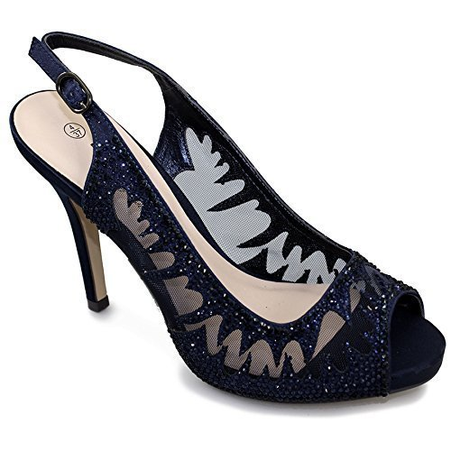 Fantasia Boutique femmes bout ouvert élégant diamant maille femmes talon haut chaussures sac à main marine (Chaussure seulement)