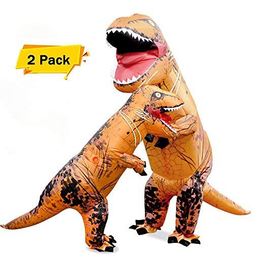 lloween-Dinosaurier-Kostüme Aufblasbare T-Rex-Kostüm, Ausgefallene Kleid Lustige Cosplay-Outfit Für Kinder Und Erwachsene-Mit Akku Oder Power-Bank-Ventilator,2Pieces ()