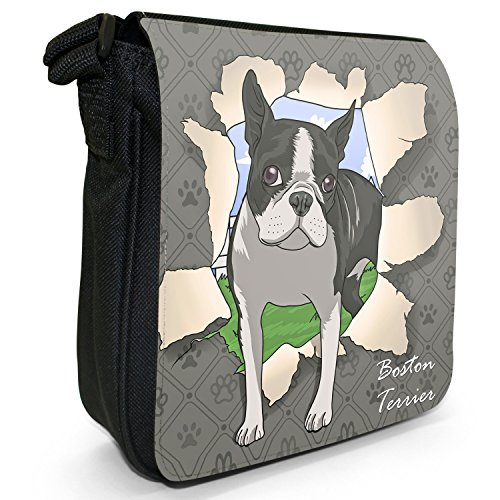 Durchbruch-Hunde Kleine Schultertasche aus schwarzem Canvas Boston Terrier bricht durch