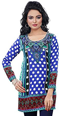 Indian Long Kurti Top Tunic Printed Womens India Clothes (Blue, L)