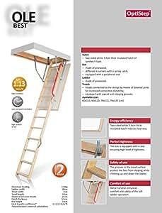 Optistep en bois-Échelle de grenier escamotable en bois Stairs. Taille du cadre: 70 x 120 cm H jusqu'à 280 cm &Trappe isolée