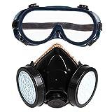 DOMYBEST Double Filtre à Gaz Anti-poussière Masque à Gaz Lunettes de Protection Industrielle Avec Masque Pour Les Yeux (PVC)
