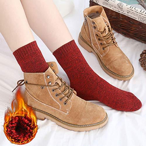 SUZNUO Warme weiche Terry Knöchel-Frauen-Socken-Winter-beiläufige Normallack-Baumwollbequeme thermische Kurze Socken-Mädchen 5 Paar-Satz -