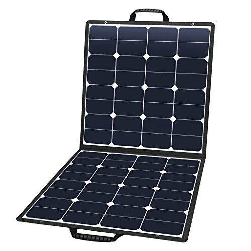 Suaoki 100W Solar Ladegerät 2-Port Beweglicher Solar Panel Ladegerät (18 V DC bis 5V USB Dual Ausgang Ladegerät) für Laptop, Akku, Netz Bank, iPad, iPhone und Andere Digitale - Solar Koffer