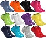 Rainbow Socks 12 pares de calcetines cortos en 12 colores de moda producidos en la UE, la alta calidad de algodón certificado Oeko-Tex, tallas: 44, 45 46 by