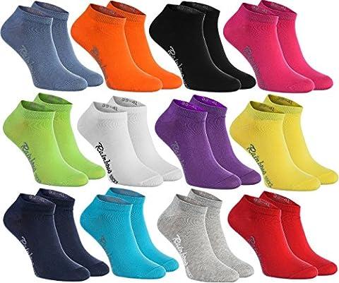 12 paires de chaussettes courtes de 12 couleurs faites dans l'UE, le coton de haute qualité certifié Oeko-Tex, plusieurs tailles: 39, 40, 41 by Rainbow Socks