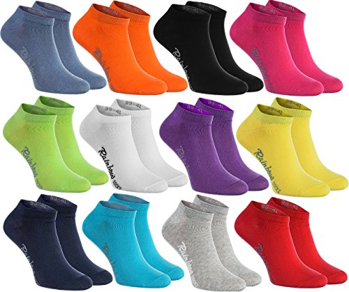 6, 9, or 12 ankle socks in 12 fashionable colours produced in the EU, highest quality of cotton with OEKO-TEX certificate, multiple sizes: 36, 37, 38, 39, 40, 41, 42, 43, 44, 45, 46 by Rainbow Socks