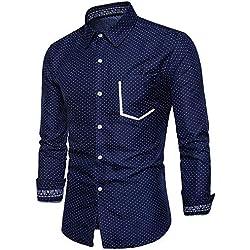IYFBXl Negocio Hombre/Camisa básica - Lunares, Azul Marino, S