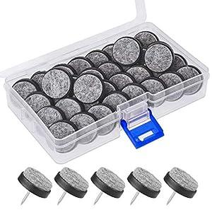 Mwoot 36 Stück Filzgleiter für Fußbödenschutz, 24mm Schwarz Möbelgleiter für Stuh und Tisch
