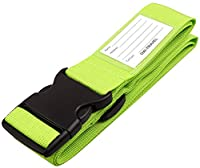 �?? HEAVY DUTY Luggage Strap Suitcase Belt - Personalised Baggage Claim Tag Set with Name and Address Label - Quality Flight Bag and Packing Accessories by OW Travel (1 - Bright Green)