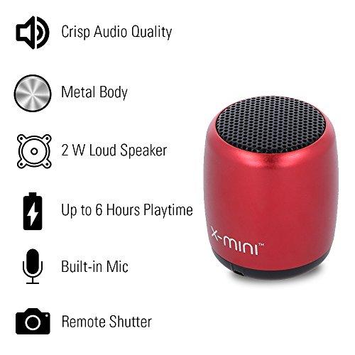 X-mini NANO-X Ultra Portable Wireless Bluetooth Speaker with Mic & Remote Shutter (Crimson Red)