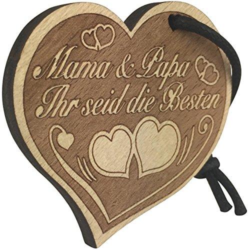 Herz Schlüsselanhänger Mama und Papa aus Holz
