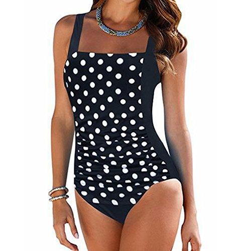 FRAUIT Damen Dot Bauchweg Badeanzug Einteiler Push Up Sportlich Push Up Tankini Set Bauchweg Farbverlauf Bademode mit Körbchen Swimsuit Große Größen für Mollige Gepolsterte Bikini Badeanzug -