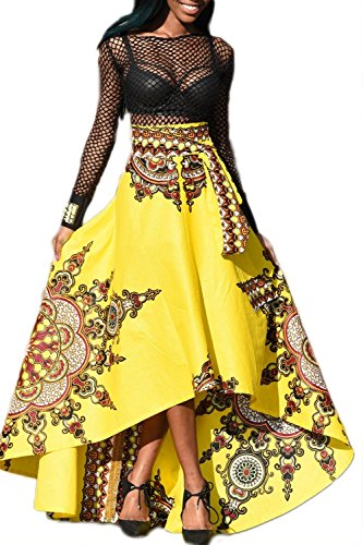 Donna elegante etnico floreali alto basso swing party gonna yellow m
