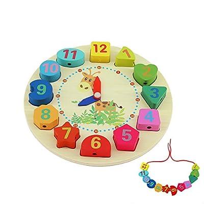QH-Shop Educativo de Madera Reloj,Reloj Educativo Juguete con Números y Cuerda Formas Educativo Juego para Niños de QH-Shop