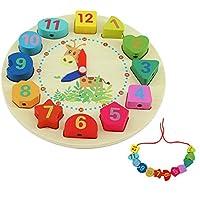 QH-Shop Educativo de Madera Reloj,Reloj Educativo Juguete con Números y Cuerda Formas Educativo Juego para Niños