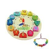 QH-Shop Uhr-Spielzeug aus Holz,Lernuhr aus Holz mit Seil und Zahlen Formen Pädagogisch für Kinder ab 3 Jahren