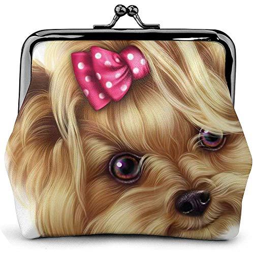 Mädchen Yorkshire Terrier Teetasse Hund niedlich Vintage Pouch Girl Kiss-Lock Portemonnaie Geldbörsen Schnalle Leder Geldbörsen