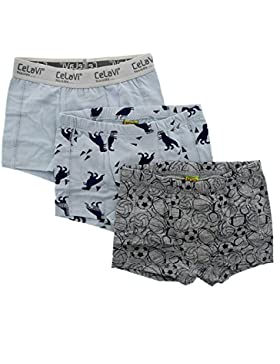CeLaVi Boys' Boxer Set, 3 Pack, , Solid and Printed, Pearl Blue, 4533