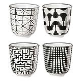 ASA 90910071 Maori - Becher/Tassen - Porzellan - schwarz/weiß - 4 er Set Ø 7,5 cm - Höhe 8,2 cm - 0,15l