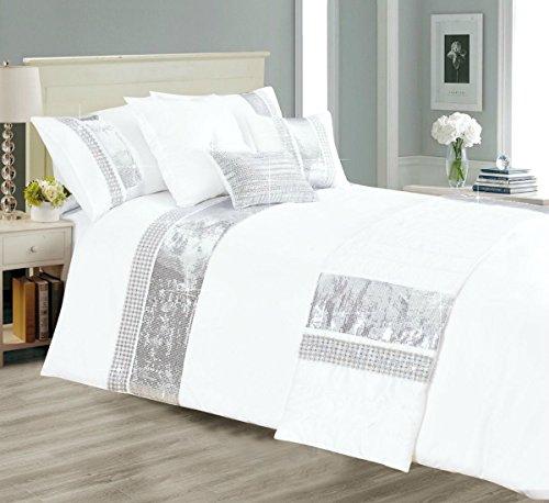 1 Stück Bettbezug (Neue Ankunft neuesten Design 3Stück Sequence 1Bettbezug 2Kissenbezüge separat 1gefüllt Squire Kissen 1Bettläufer, Polyester, weiß, Doppelbett)