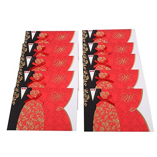 10pcs Red Biglietti invito a nozze Kit buste bianche ed interne pagine in bianco fidanzamento Carta Cartoncino giorno delle nozze Anniversario Inviti - Invito Stampato Carta