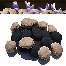 Piedras de cerámica de repuesto para chimenea de 18 gas, color beige y negro