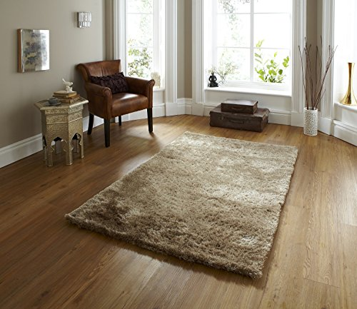 Sable Hand Tufted Thick Shaggy Pile Floor Rug 100% Super Soft Polyester 150cm x 230cm (Beige)