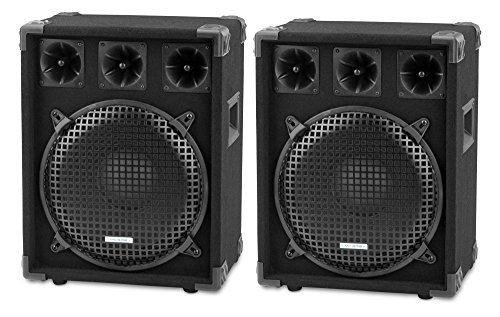 "Paar McGrey DJ-1222 DJ PA Lautsprecher Box 30cm (12"") Subwoofer 1200W (Passiv, 2-Wege System, Holzgehäuse)"