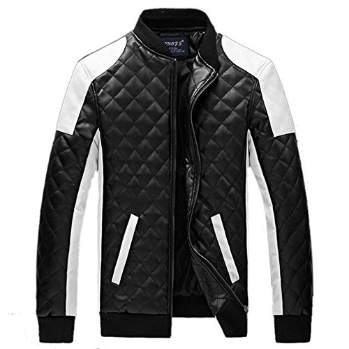 New Men 's Spring Summer Fashion Lange Sleeve Synthetik Leder Slim Biker Stehkragen Patchwork Jacke Mantel Oberbekleidung Gr. Medium, Schwarz - Schwarz