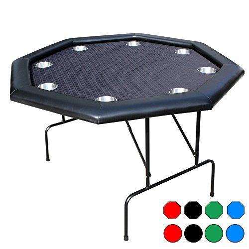 Pokertisch Tassenhalter Metall Falten Beine Schwarz 8 Spieler Octagon 8 Eckige 120cm X 120cm