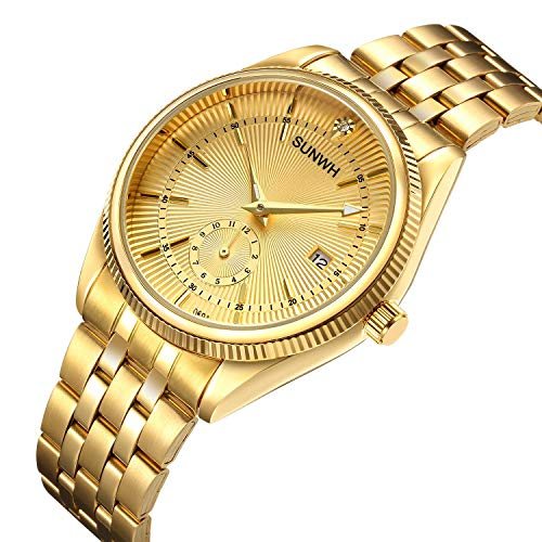 SUNWH Herren Uhr Analog Quarz mit Edelstahl Armband S-03d