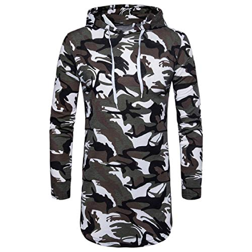 CuteRose Mens Camouflage Mid-Long Long Sleeve Hoodies Sweater Pullover White M -