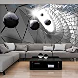 decomonkey | Fototapete 3d effect 350x256 cm XXL | Design Tapete | Fototapeten | Tapeten | Wandtapete | moderne Wanddeko | Wand Dekoration Schlafzimmer Wohnzimmer | Schwarz Kugel Grau | FOB0033c73XL
