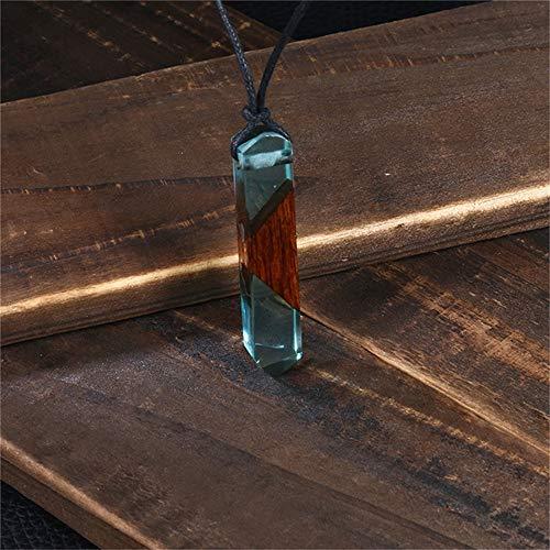 JMZDAW Halskette Anhänger Harz Holz Statement-Halskette Und Seil Holz Anhänger Mit Halskette Schmuck Geschenk Holz Harz Halskette Damen Herren Handgefertigt