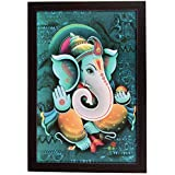 D'Mak™ Exclusive 'Ganesh Religious' (Synthetic UV Art Painting Without Glass) Framed Wall Art Paintings Of Lord 'Ganesh' Frame Size (12 Inch X 18 Inch) | Wall Ganesha Frame |