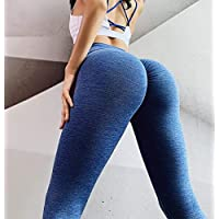 Baycheey Nueva melocotón cadera pantalones de la yoga de alta cintura del estiramiento flacos de aptitud que se ejecuta pantalones deportivos botín Scrunch medias entrenamiento Correr en cuclillas Pru