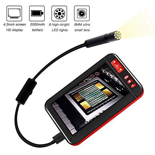 Sucastle Industrie-Endoskop-Inspektionskamera mit 4,3-Zoll-1080p HD-LCD-Digital-IP67 wasserdichter 8 LED-Leuchten-Schlange-Kamera (Color : 10m)