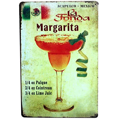 Lumanuby 1x Schäbig Stil Margarita Plakat für die Bar Bunt Cocktail Metallschild von Glas mit Zitronenschale und Formel Verhältnis Wandposter für die Bar Pub oder Club, Bar Sprüche Serie Size 20x30cm -