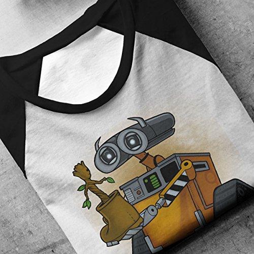Life Found Wall E Groot Brown Men's Baseball Long Sleeved T-Shirt White/Black