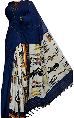 Tant Ghar Cotton Saree (Tg-013G_Blue)