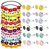 Auidy_6TXD Juego de 24 diademas de cristal hippie para disfraz, 12 diademas multicolor de girasol, 12 piezas de gafas de sol hippie redondas para fiesta de festival